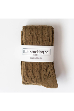 Little Stocking Co Olive Cable Knit Tights - Alternate List Image