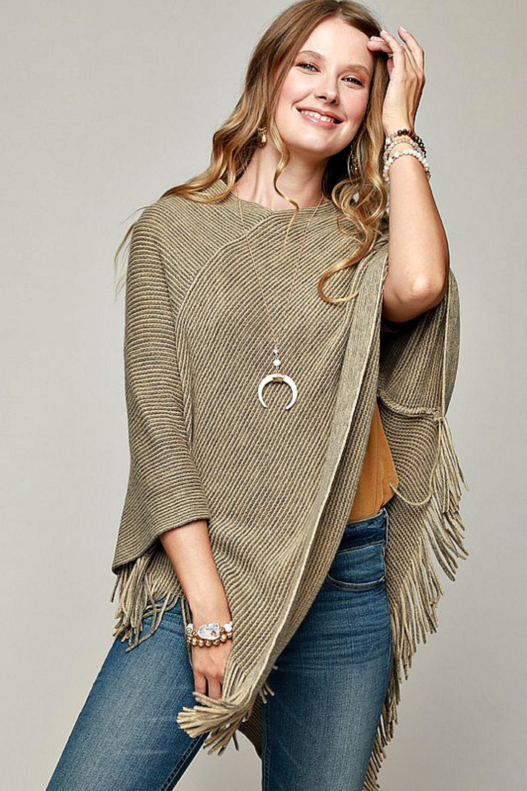 Ruggine Olive-Colored Poncho - Front Full Image