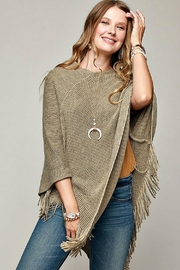 Ruggine Olive-Colored Poncho - Front full body
