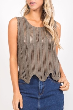 LoveRiche Olive Crochet Top - Product List Image