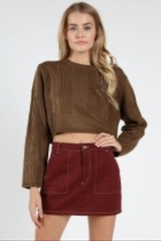 Wild Honey Olive Crop Sweater - Product Mini Image