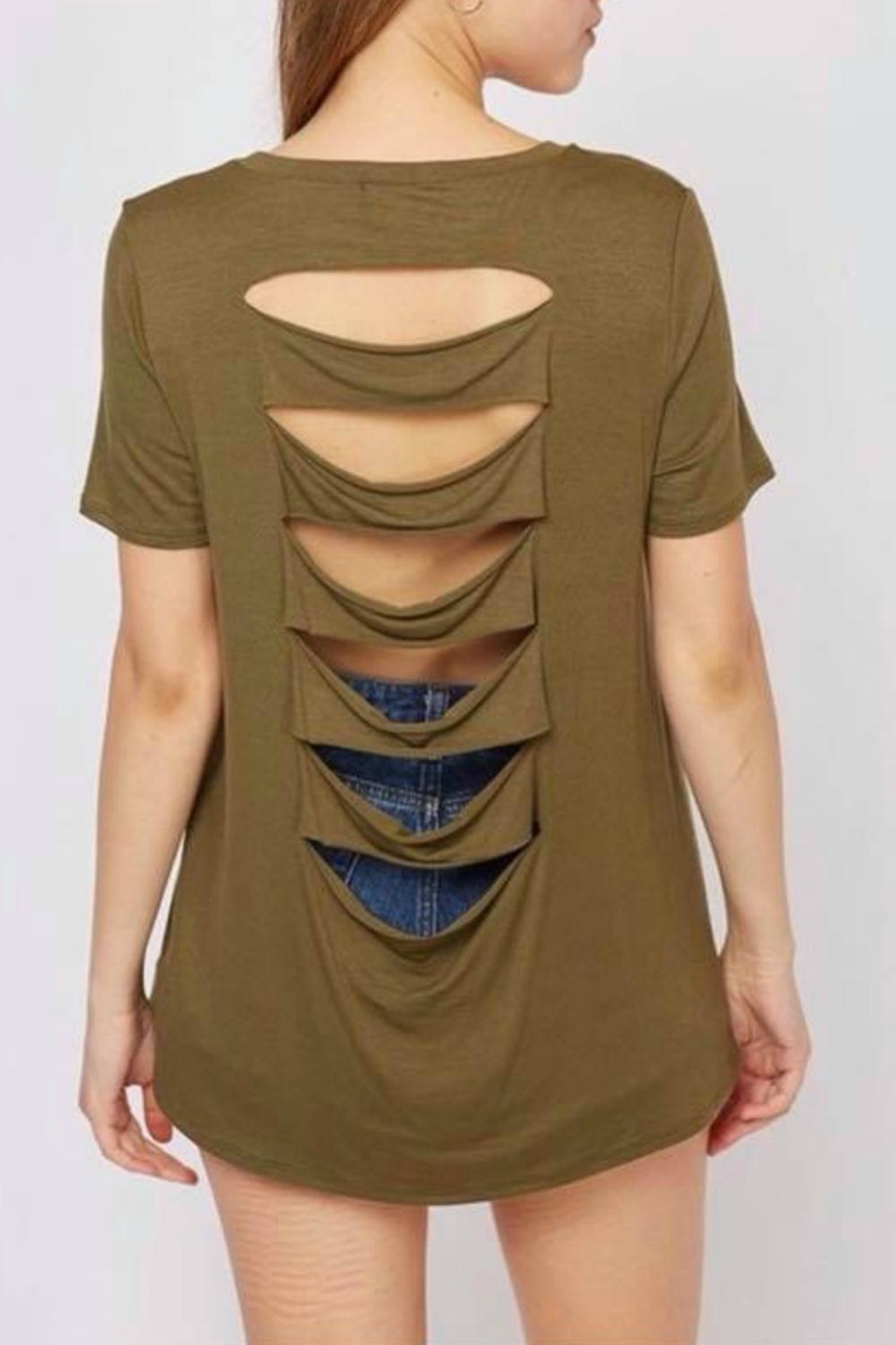 Fantastic Fawn Olive Cut-Out Top - Main Image