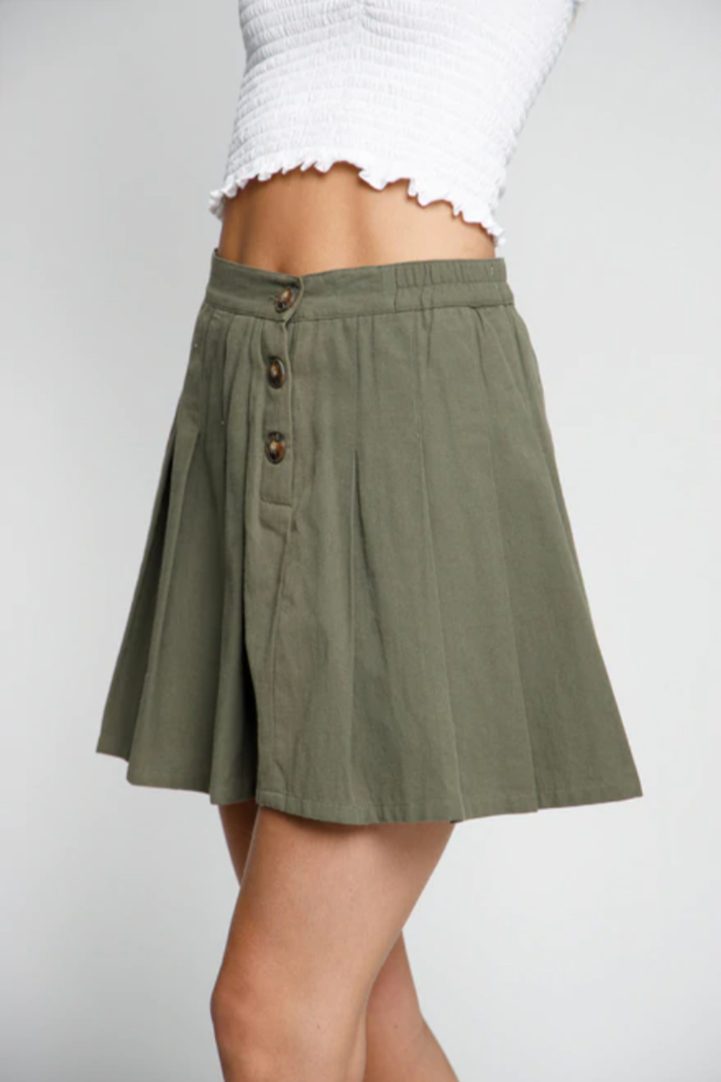 Wholesale Fashion Couture Olive Fit n' Flare Skirt - Main Image