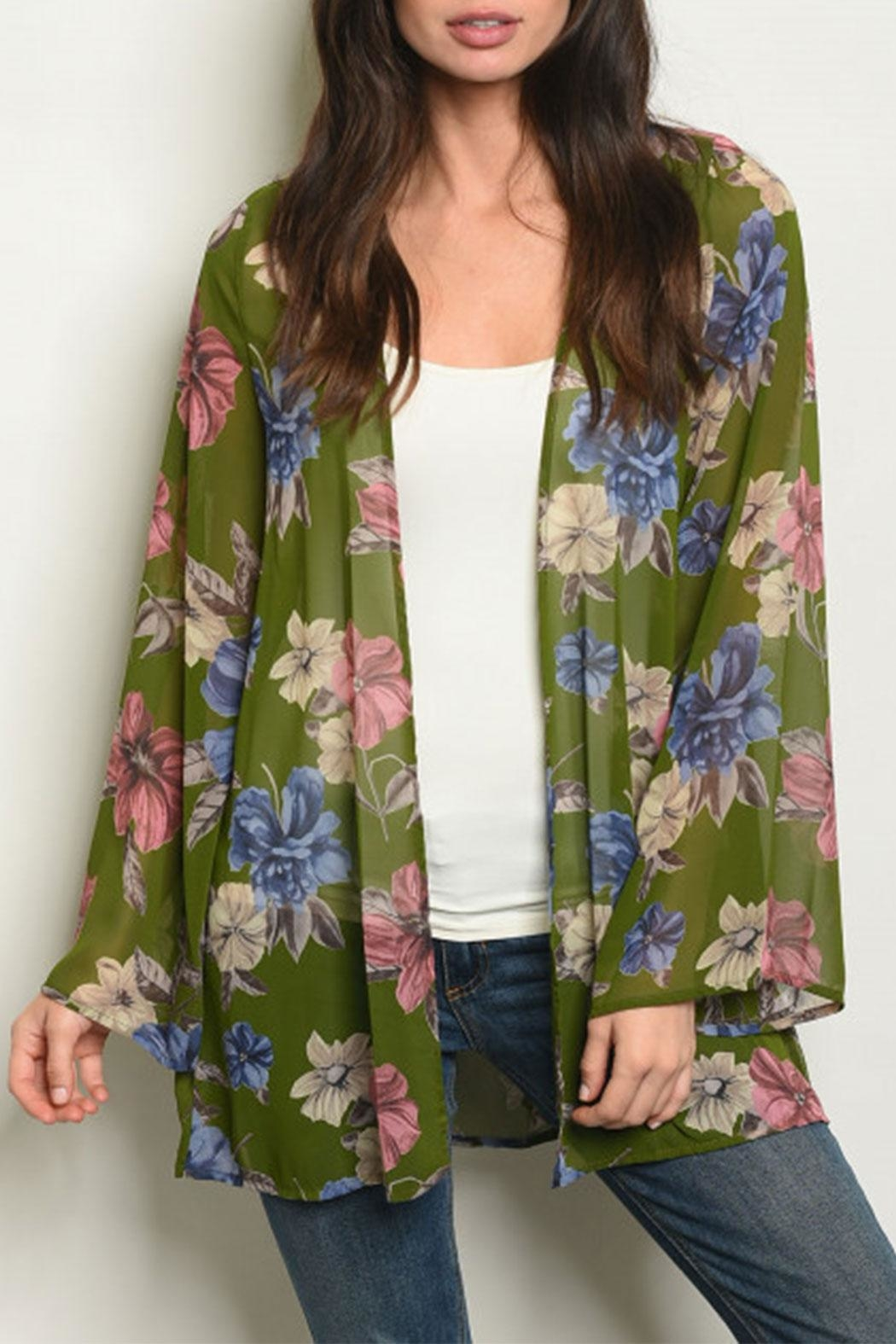 2cb0d68f530 Peach Love California Olive Floral Kimono from Texas by Ooh La La ...