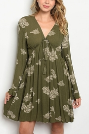 Lyn -Maree's Olive Floral Sling Dress - Product Mini Image