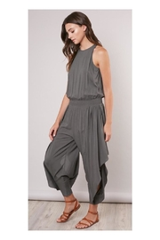 Mustard Seed Olive Flowy-Leg Jumpsuit - Front full body