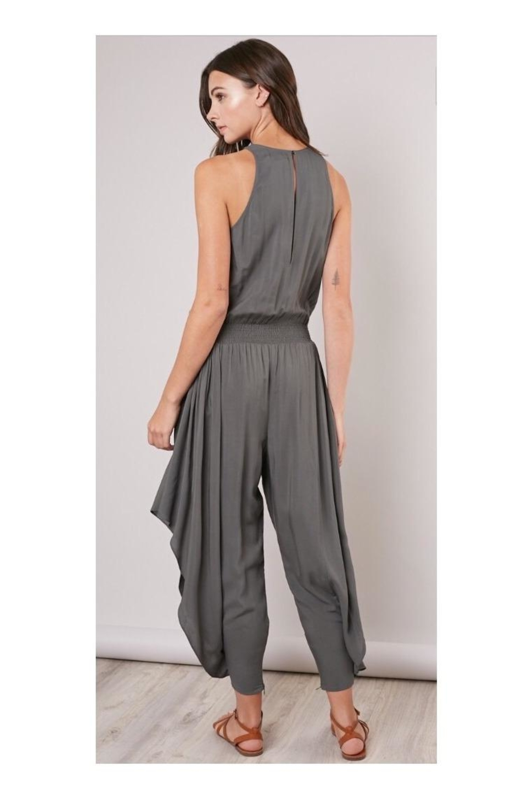 Mustard Seed Olive Flowy-Leg Jumpsuit - Side Cropped Image