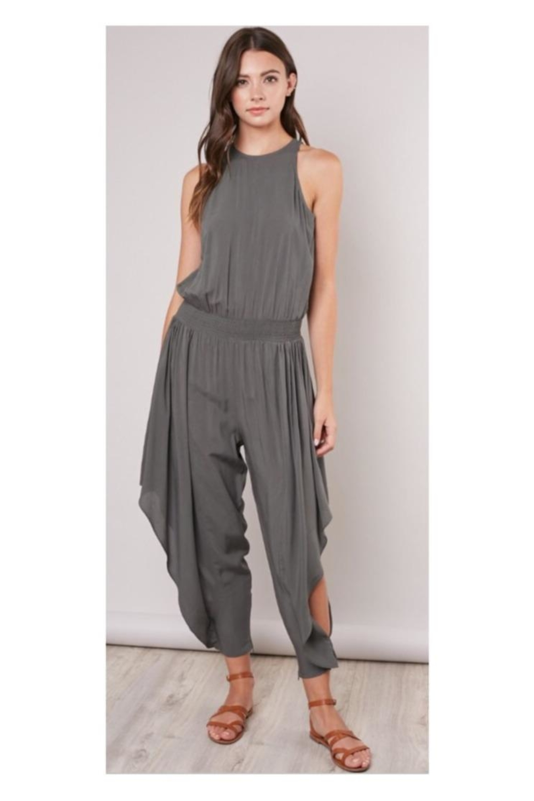 Mustard Seed Olive Flowy-Leg Jumpsuit - Front Cropped Image