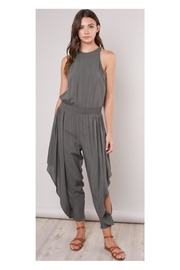 Mustard Seed Olive Flowy-Leg Jumpsuit - Front cropped