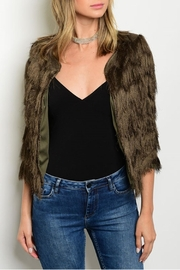 Xtaren Olive Fringes Sweater - Front cropped