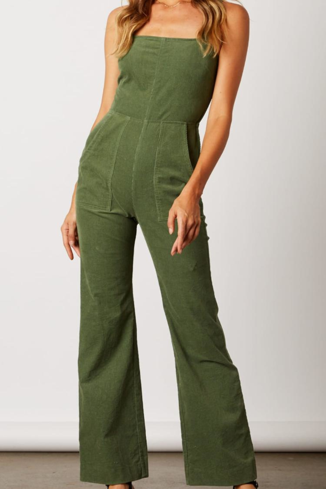 Cotton Candy LA Olive Green Jumpsuit - Front Cropped Image