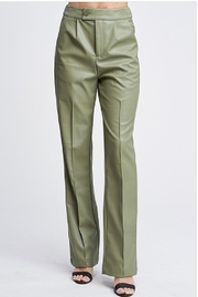 Emory Park Olive Green Vegan Leather Pants - Product Mini Image