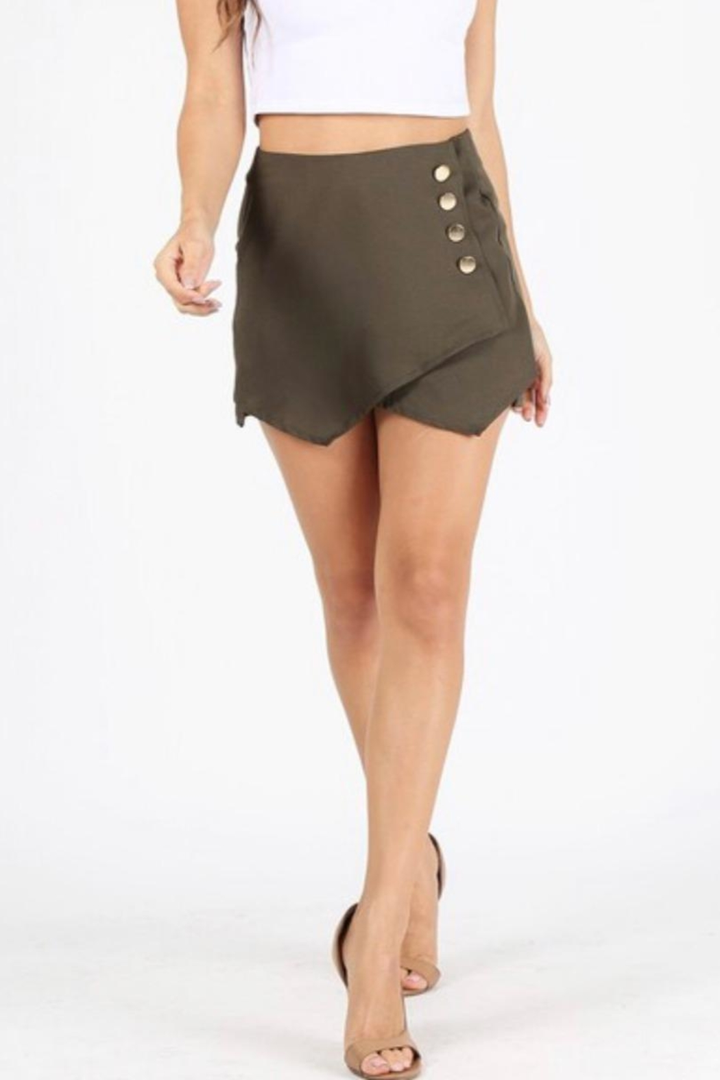 Milk & Honey Olive High-Waited Skort - Main Image