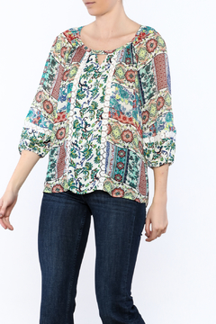 Olive Hill Mix Print Boho Top - Product List Image