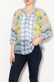 Olive Hill Lemon Peasant Top - Product Mini Image