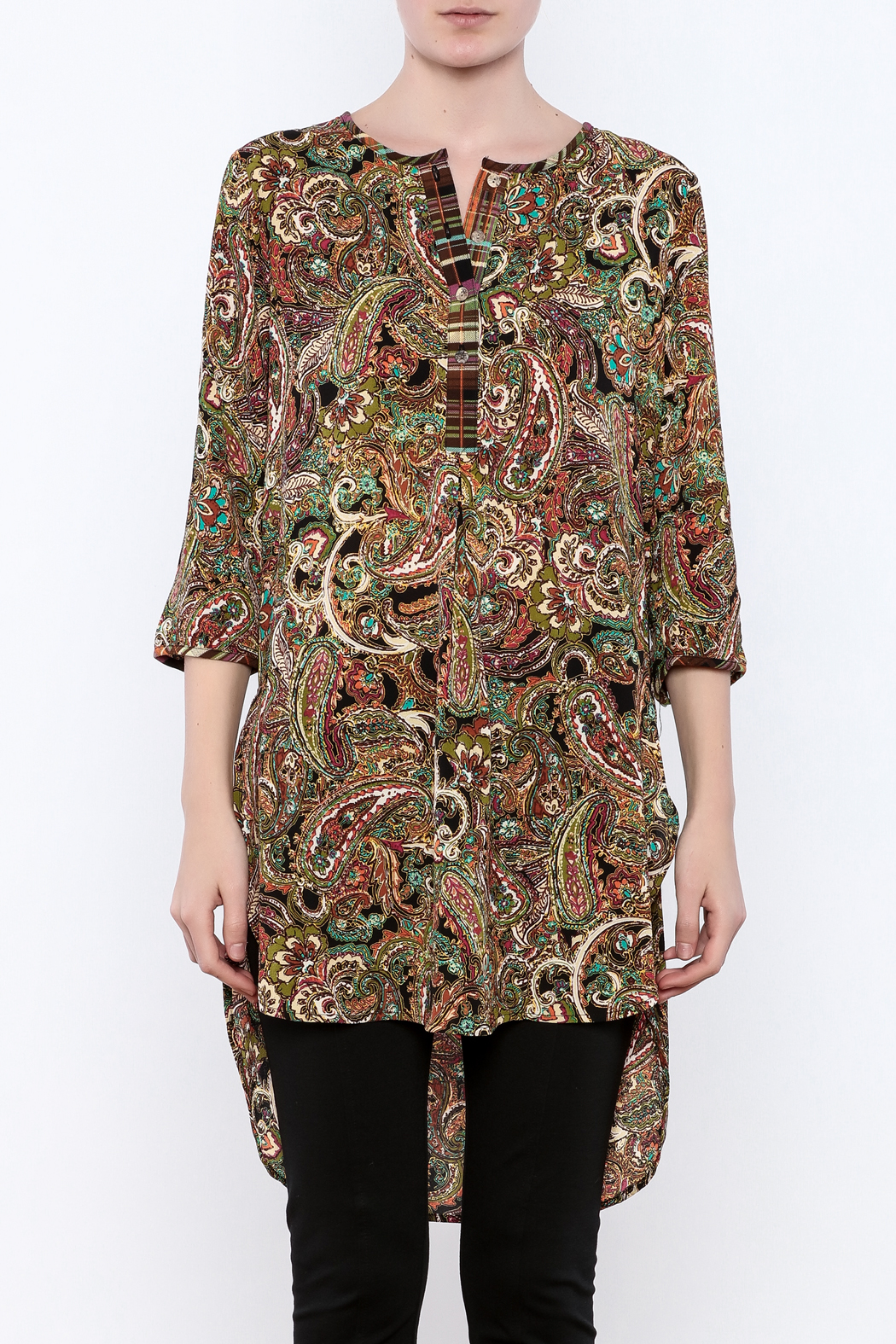 Olive Hill Paisley Henley Tunic - Side Cropped Image