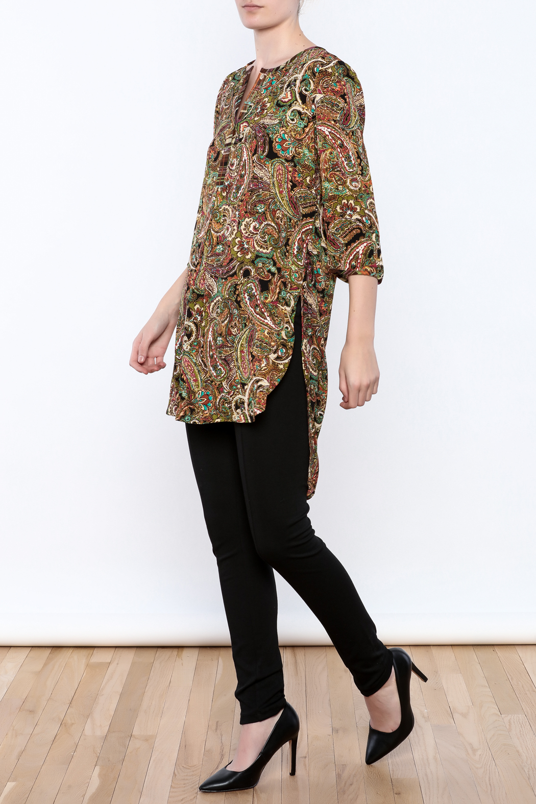 Olive Hill Paisley Henley Tunic - Front Full Image