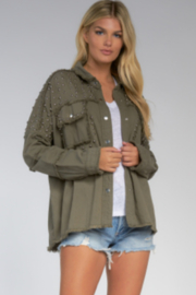 Elan  Olive Jacket with Studs - Front full body