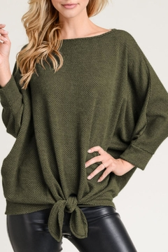 First Love Olive Knit-Dolman Top - Product List Image