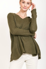Love Stitch Olive Knit Hoodie - Product Mini Image