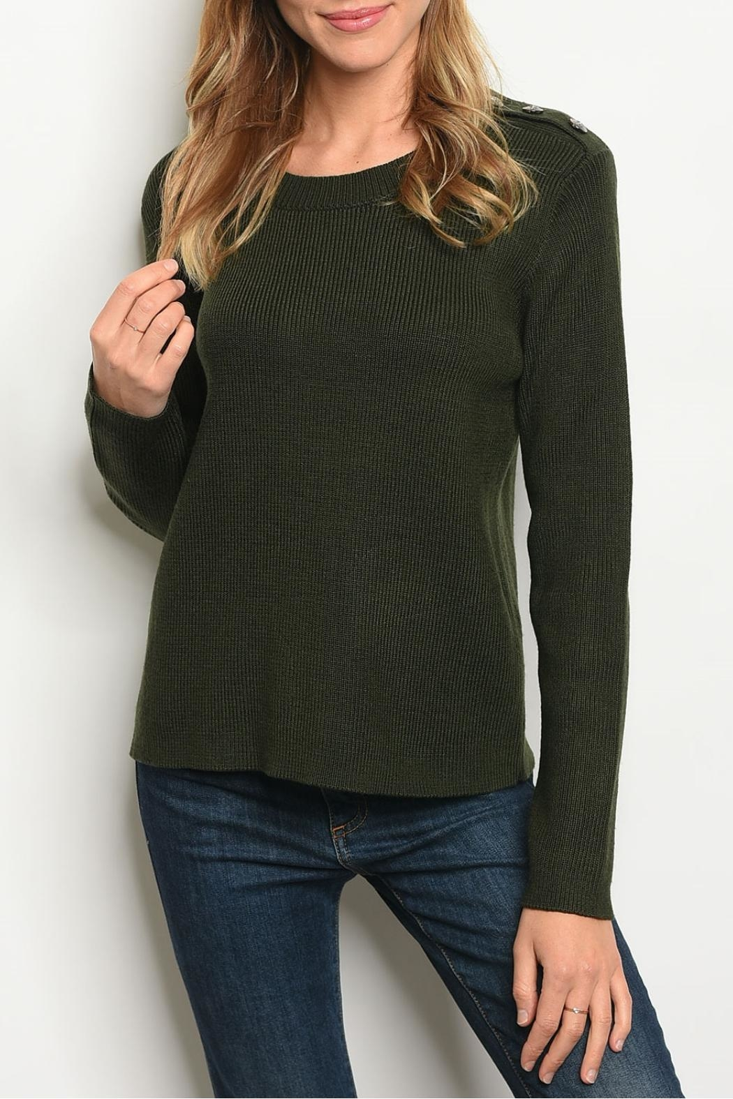Le Lis Olive Knit Sweater - Main Image