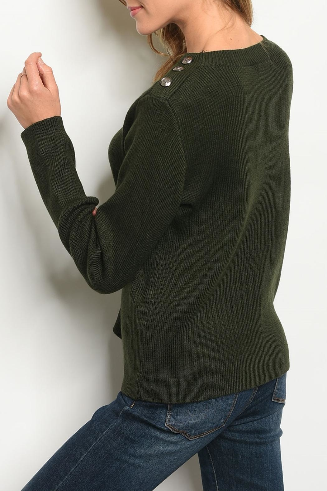 Le Lis Olive Knit Sweater - Front Full Image