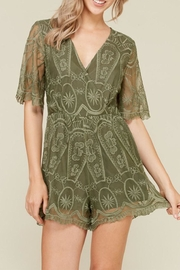 hers and mine Olive Lace Romper - Product Mini Image