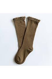 Little Stocking Co Olive Lace Top Knee High Socks - Product Mini Image