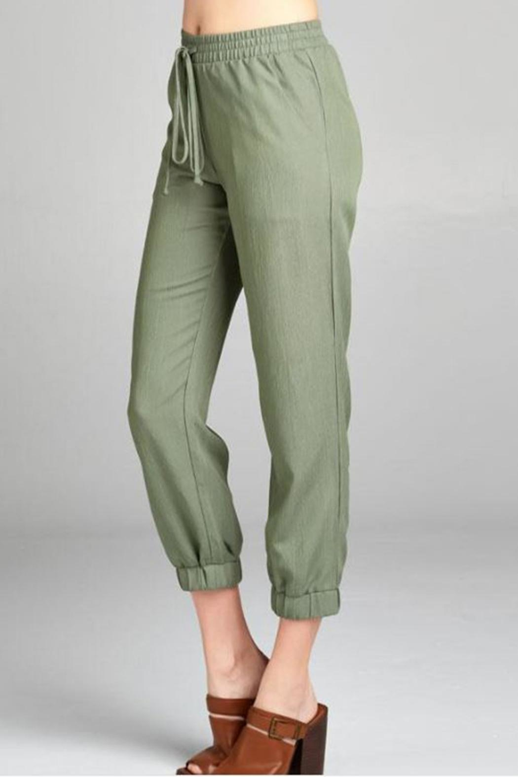 Color Thread Olive Lounge Pant - Side Cropped Image