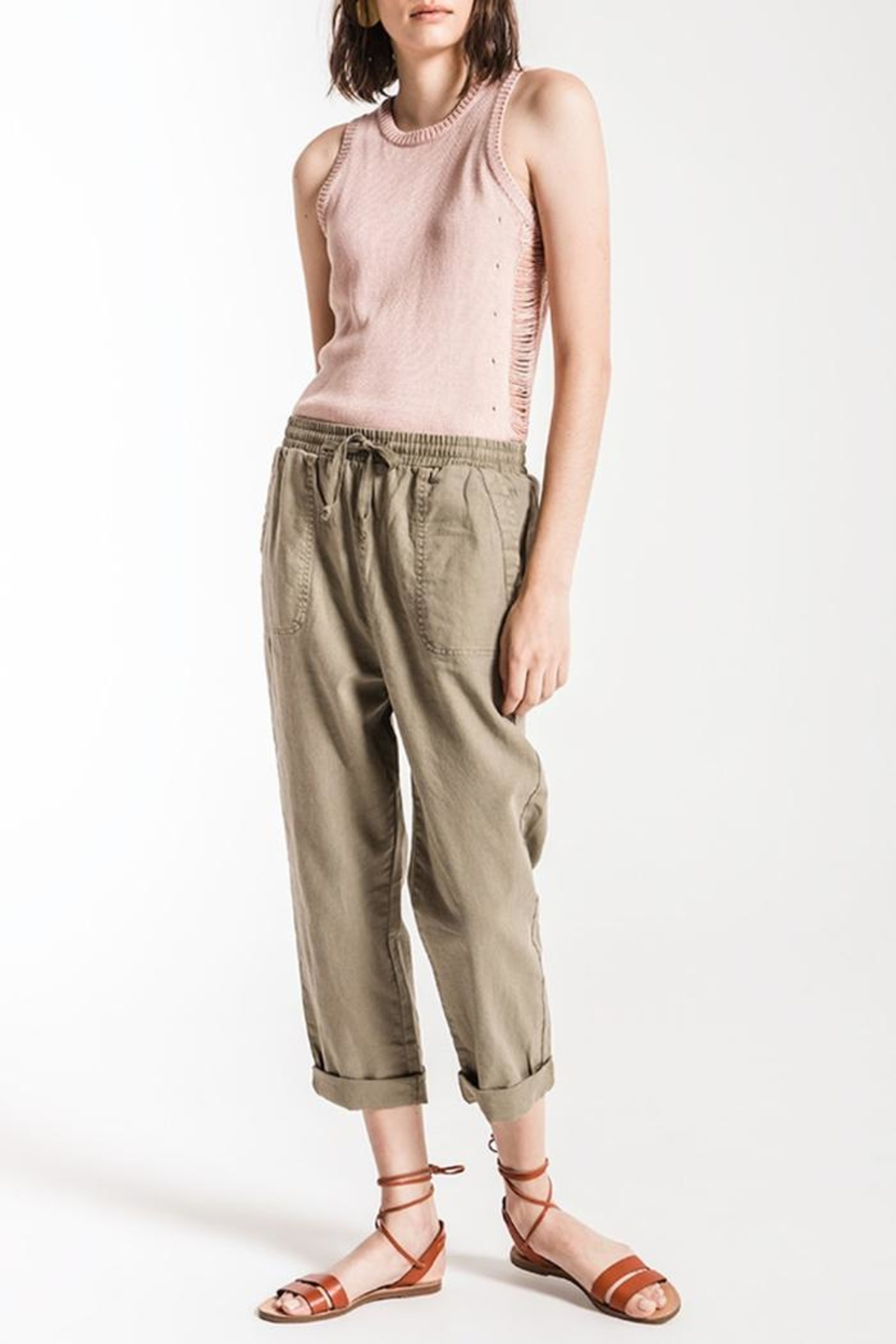 rag poets Olive Marina Pant - Front Cropped Image