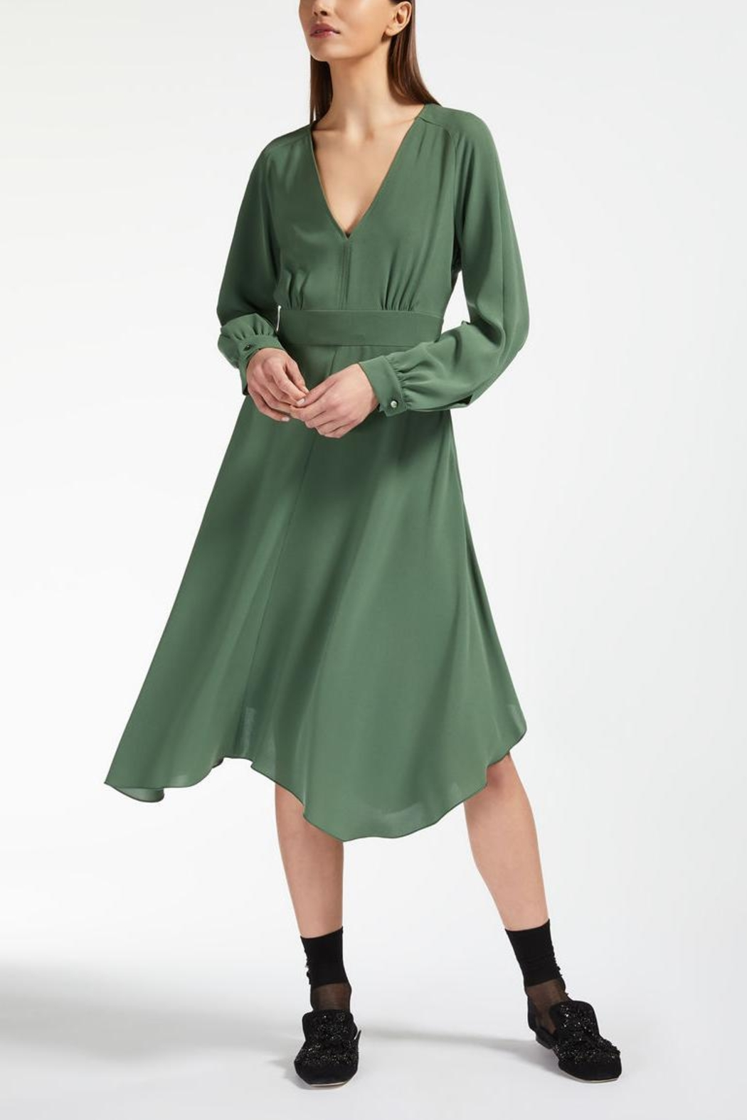 Max Mara Olive Midi Dress - Front Cropped Image