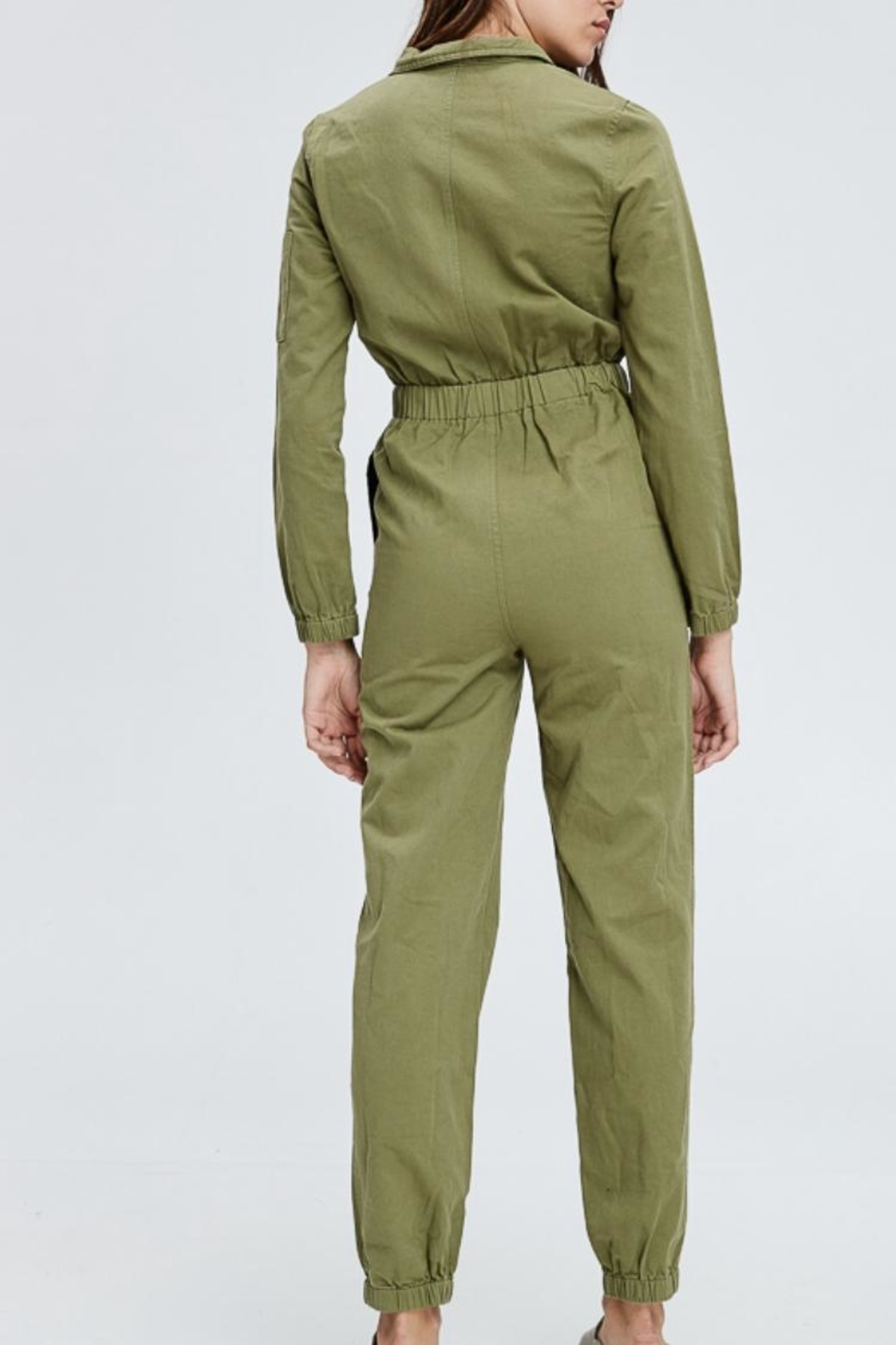 Emory Park Olive Overall Jumpsuit - Side Cropped Image