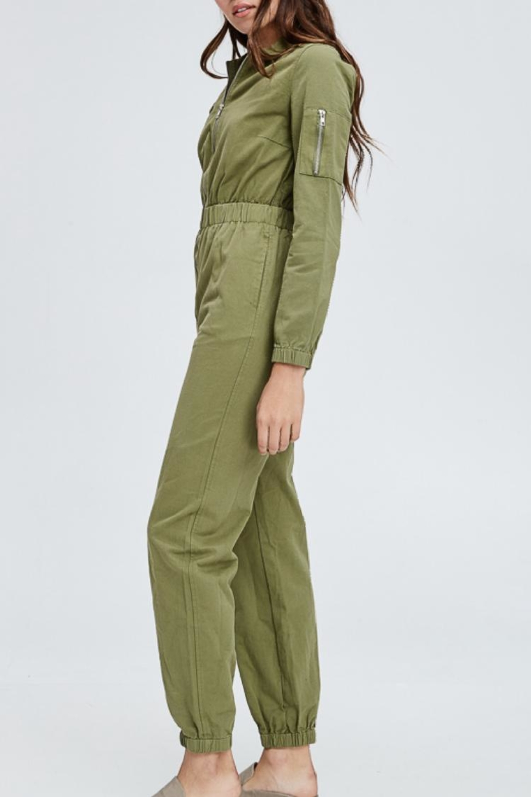 Emory Park Olive Overall Jumpsuit - Front Full Image