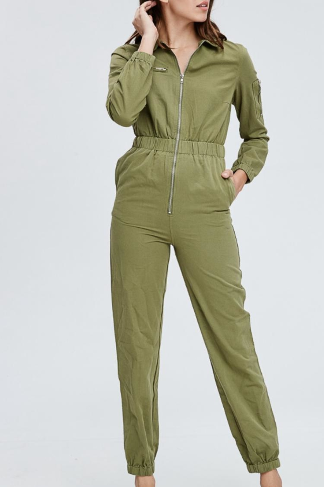Emory Park Olive Overall Jumpsuit - Main Image