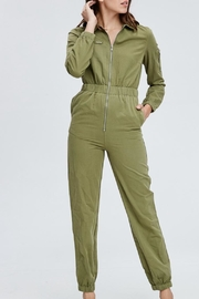 Emory Park Olive Overall Jumpsuit - Front cropped