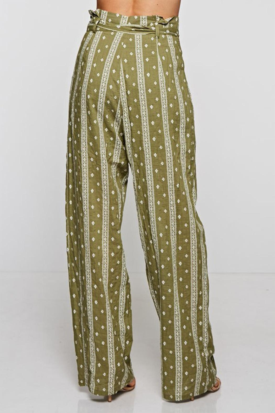 The Clothing Co Olive Print Pants - Side Cropped Image