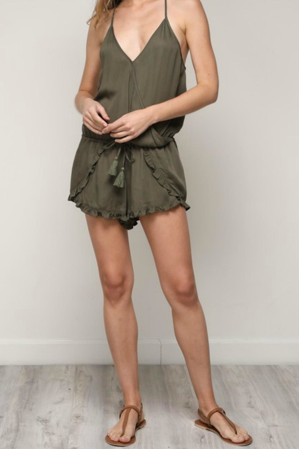 ALB Anchorage Olive Ruffle Romper - Side Cropped Image