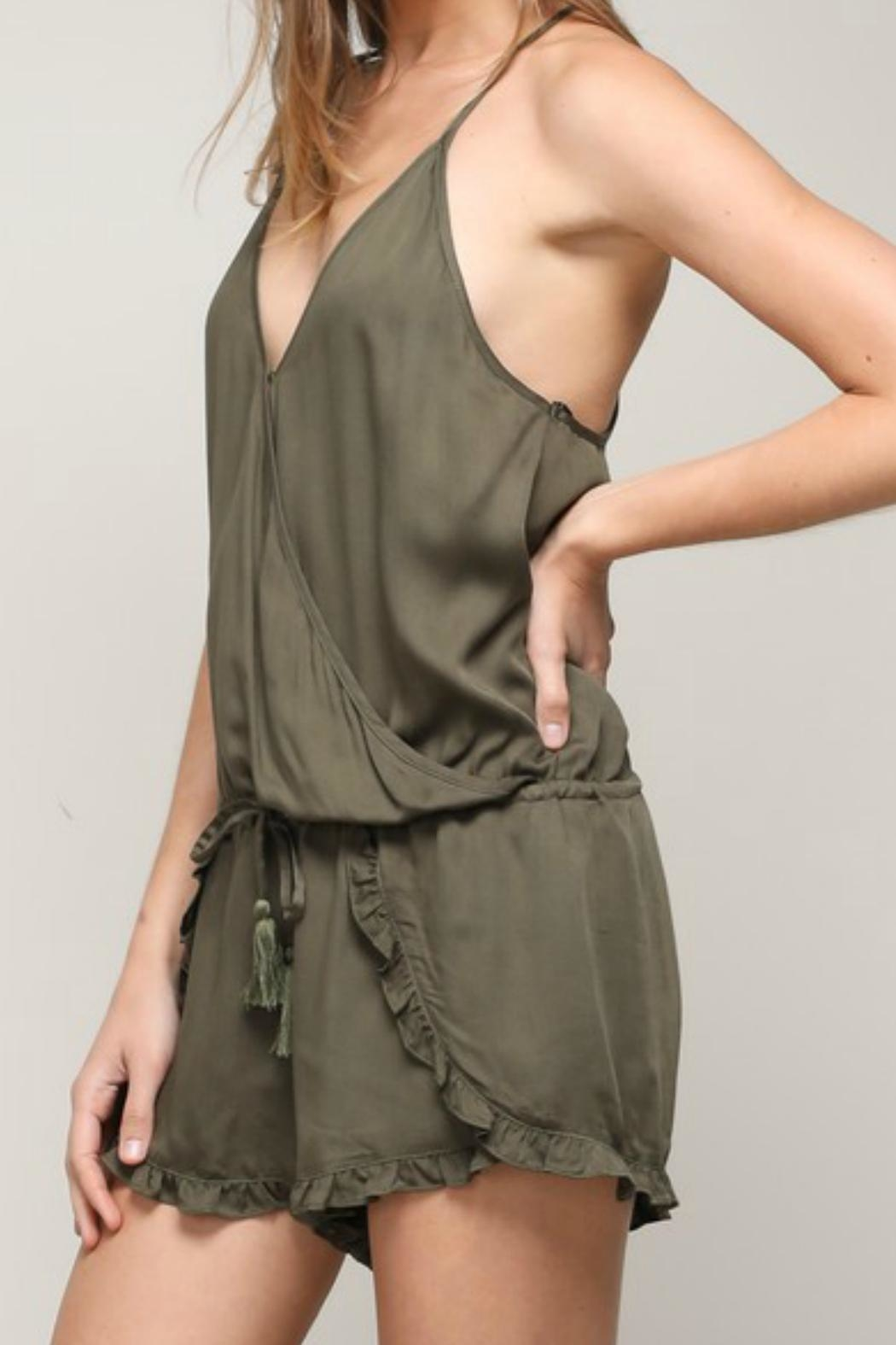 ALB Anchorage Olive Ruffle Romper - Front Full Image