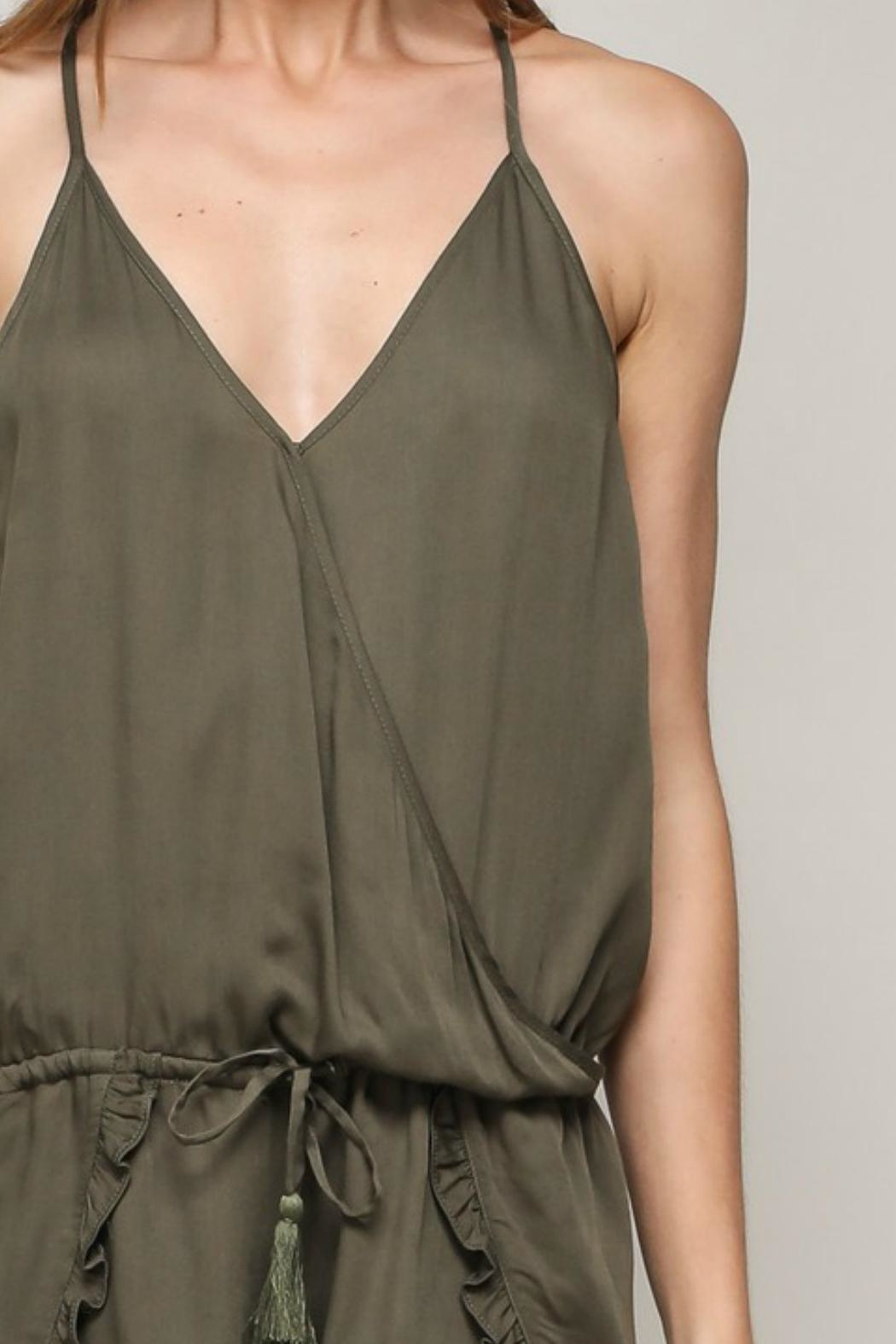 ALB Anchorage Olive Ruffle Romper - Back Cropped Image