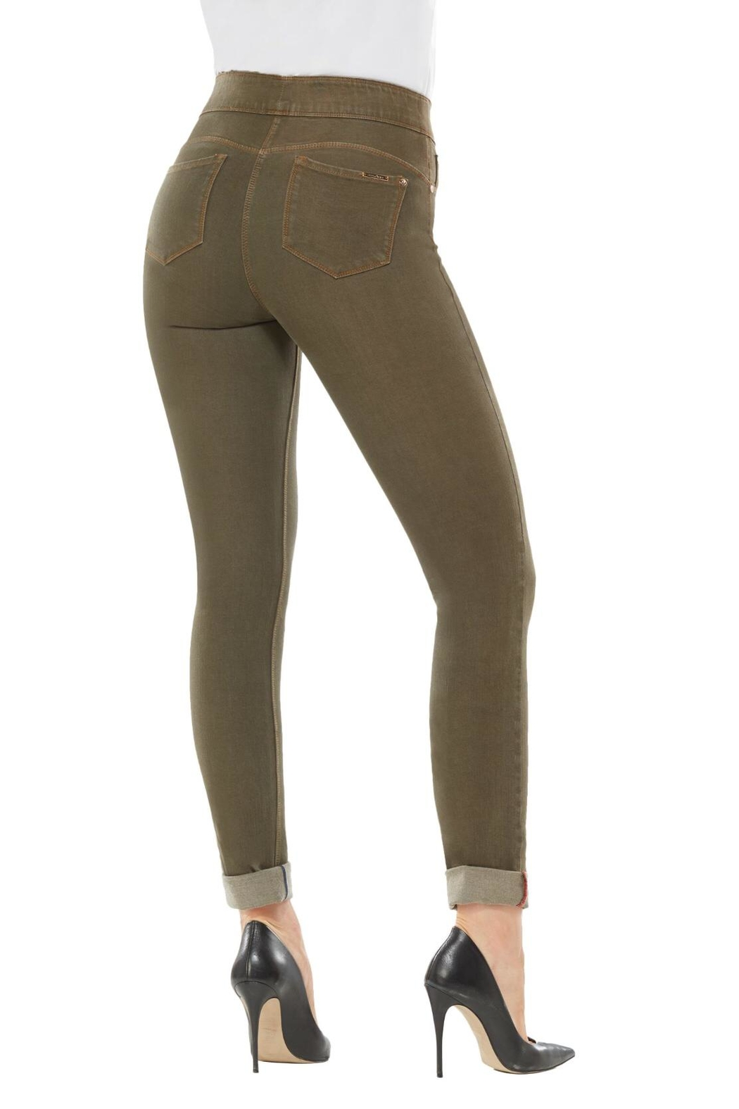 Nygard Olive Skinny Jeans - Side Cropped Image