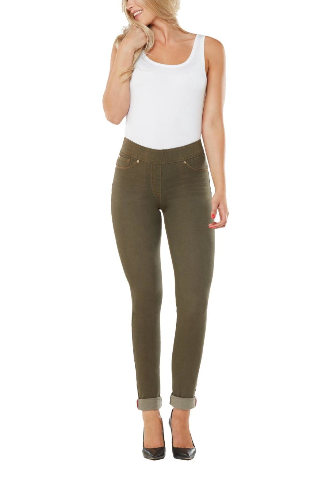 Nygard Olive Skinny Jeans - Back Cropped Image