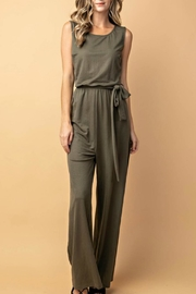 Izzie's Boutique Olive Sleeveless Jumpsuit - Product Mini Image
