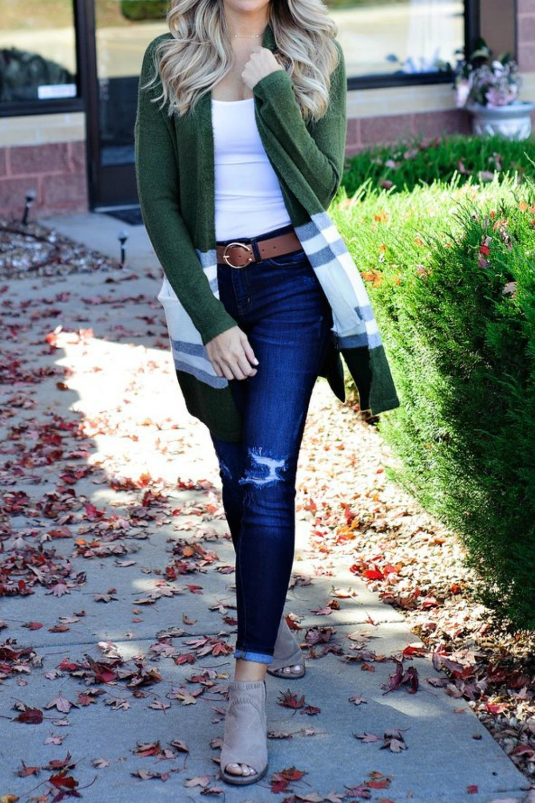 Staccato Olive Stripe Cardigan - Side Cropped Image