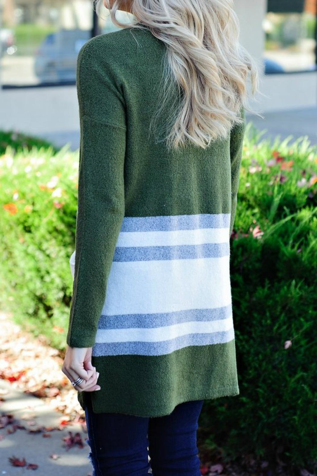 Staccato Olive Stripe Cardigan - Front Full Image