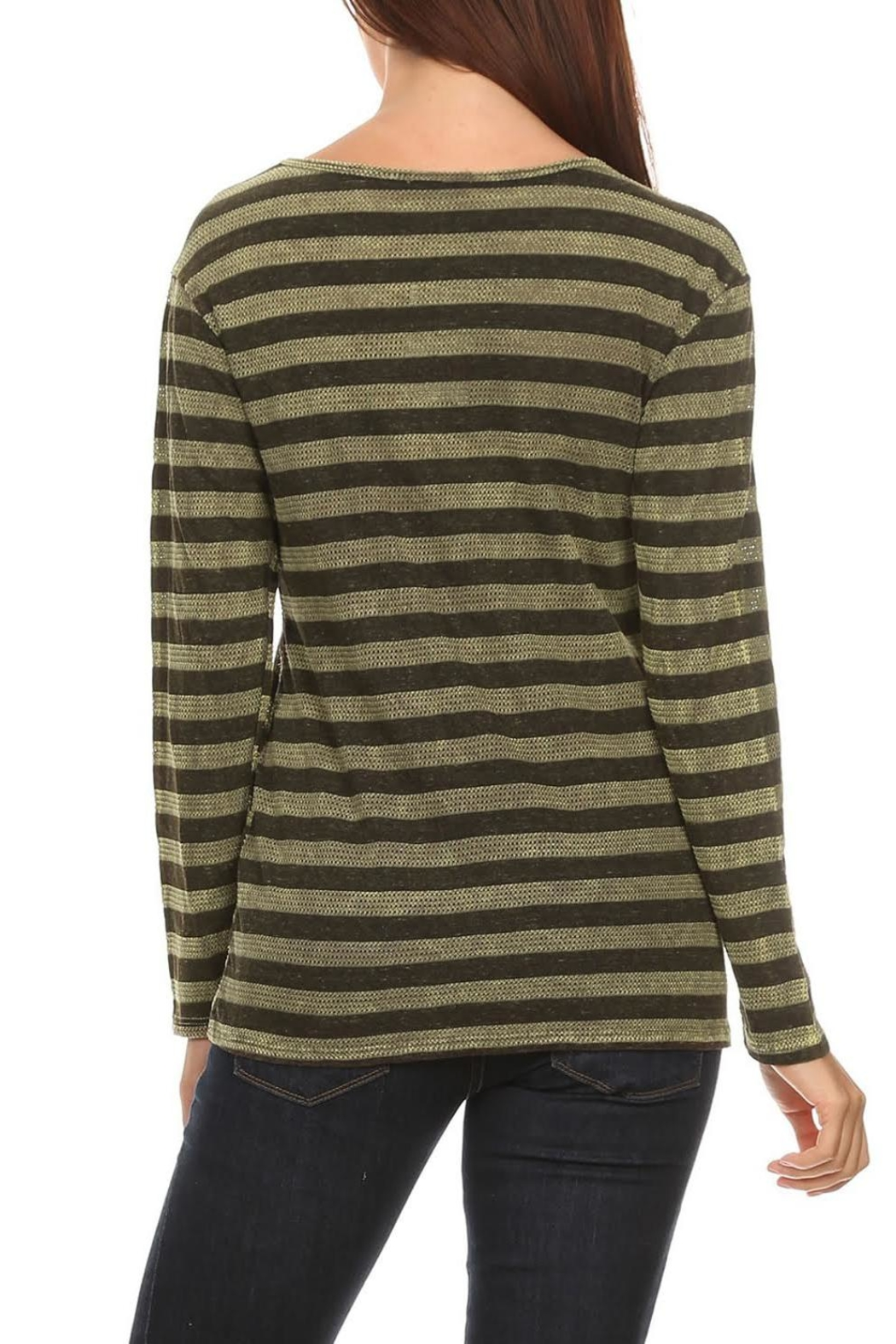 T Party Olive-Striped Long-Sleeve Tee - Front Full Image