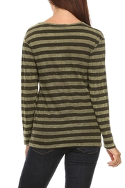 T Party Olive-Striped Long-Sleeve Tee - Front full body