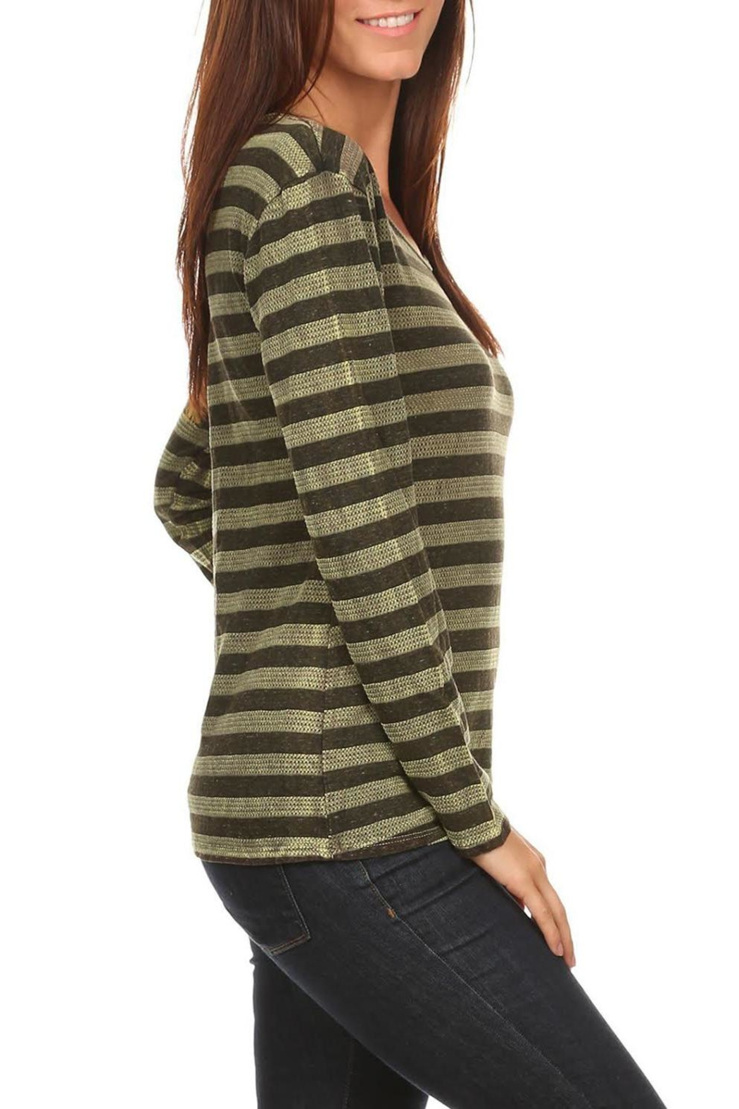 T Party Olive-Striped Long-Sleeve Tee - Side Cropped Image