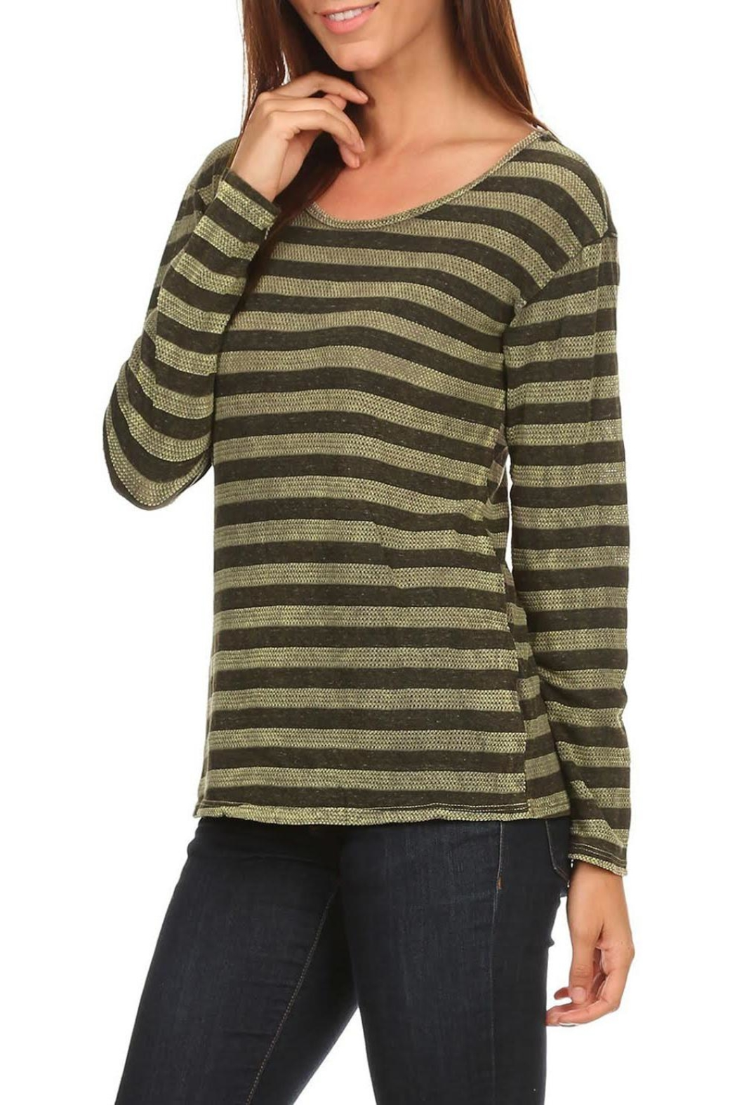 T Party Olive-Striped Long-Sleeve Tee - Main Image
