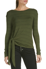 Elan Olive Striped Side Tie Top - Product Mini Image