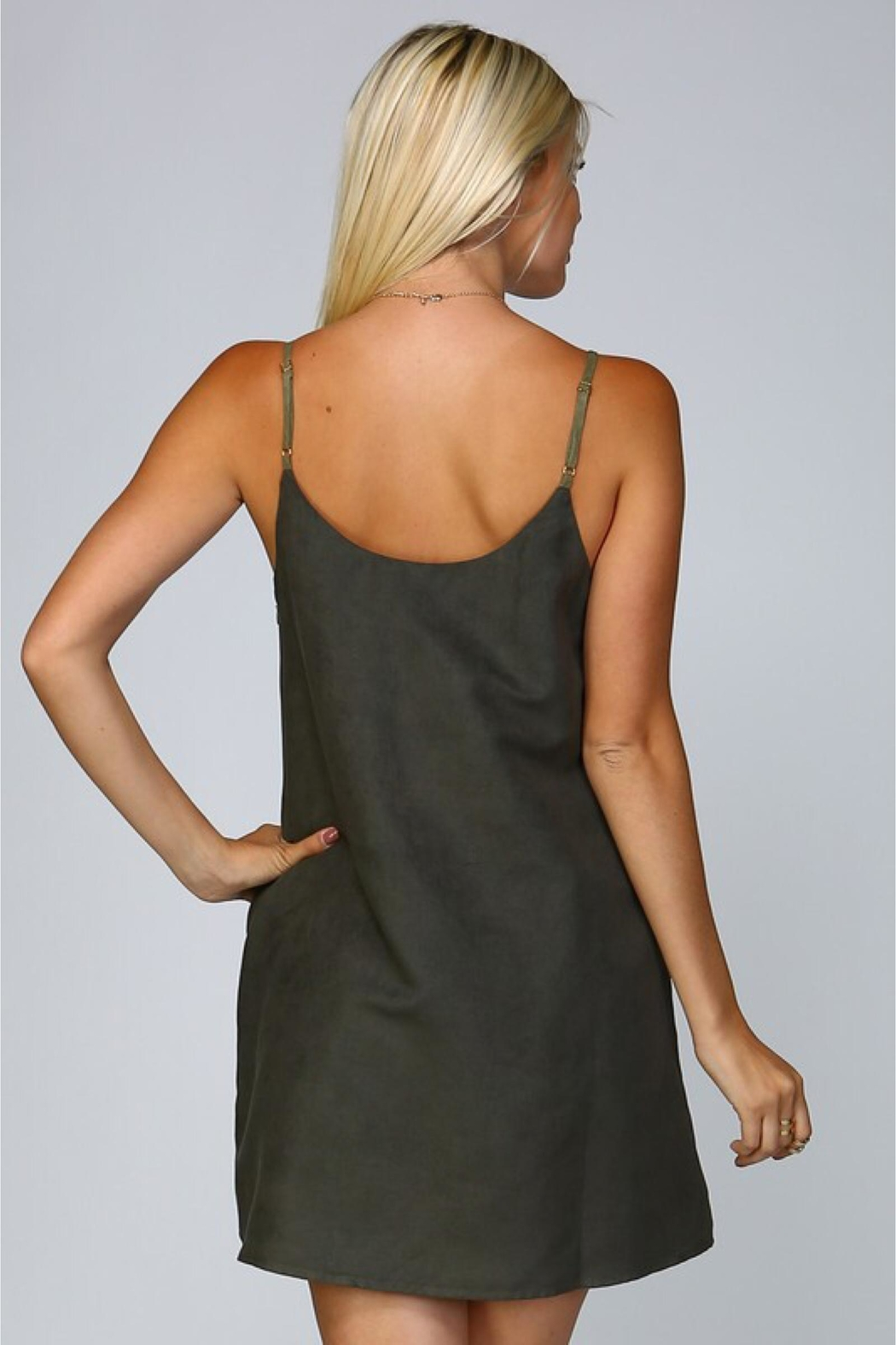 People Outfitter Olive Suede Dress - Front Full Image